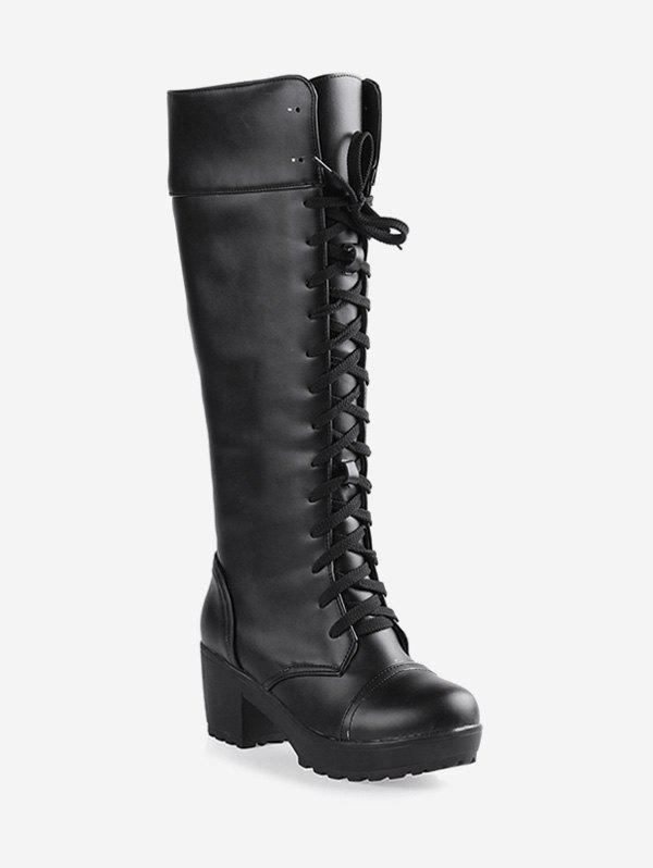 Unique Plus Size Lacing Chunky Heel Knee High Boots