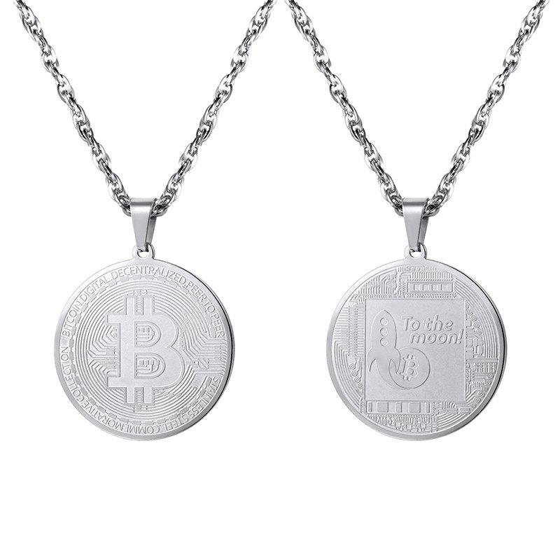 Trendy PSP3317 Stainless Steel Bitcoin Commemorative Coin Pendant + Water Wave Chain