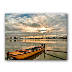Single Core Boat Docked At Sunset Oil Painting for Decoration -