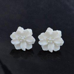 G962 Simple Personality Three-dimensional Petals White Sweet Flowers Pearl Earrings -