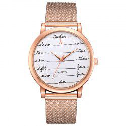 Lvpai P599 Femme Lettre Wave Mirror Casual Mesh Belt Quartz Montre -