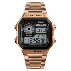 Skmei 1335 Male Business Table Outdoor Sports Personality Square Digital Display Electric Watch -