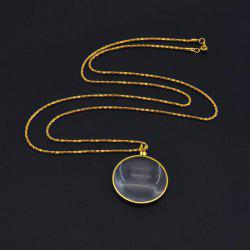 Retro Round Magnifying Glass Necklace Reading Newspaper Hanging Pendant -