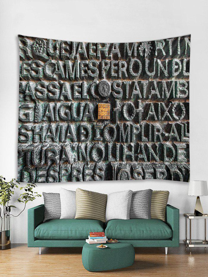 Trendy Stone Letters Print Tapestry Wall Hanging Decoration