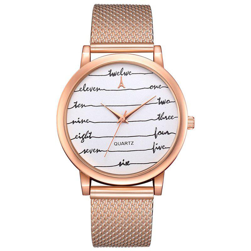 Lvpai P599 Femme Lettre Wave Mirror Casual Mesh Belt Quartz Montre