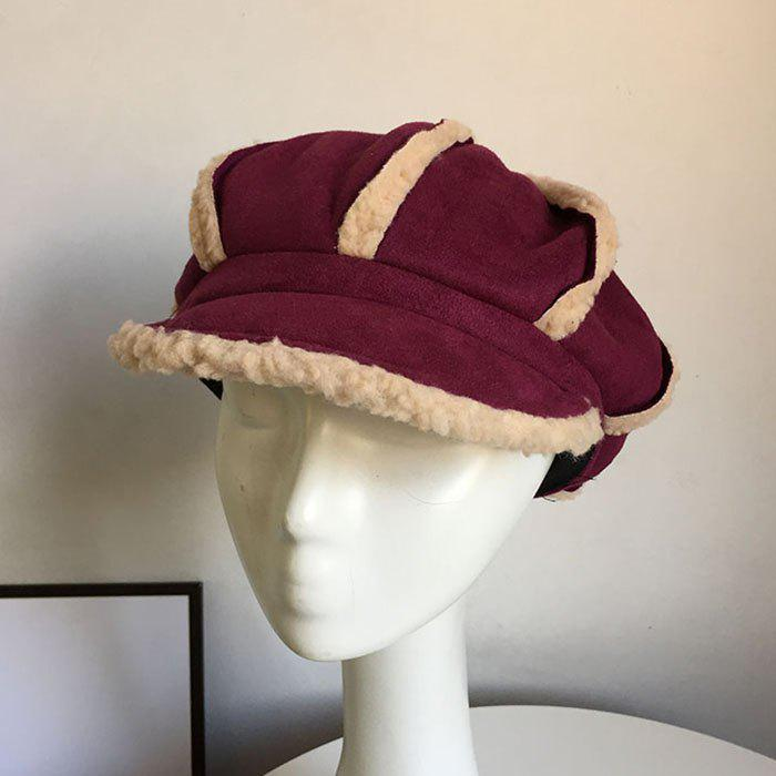 New Autumn and Winter Warm Lamb Hair Thickened Beret Octagonal Hat