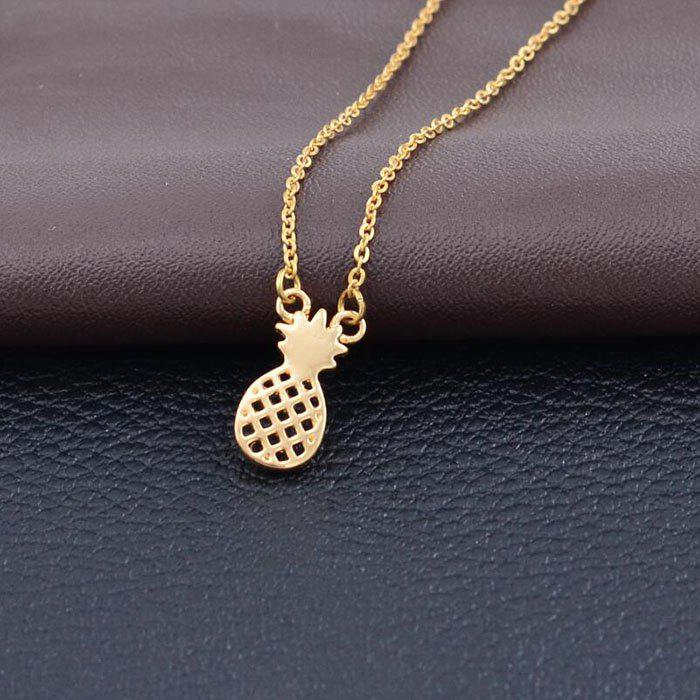 Fancy Hollow Pineapple Alloy Plating Fruit Pineapple Pendant Clavicle Necklace