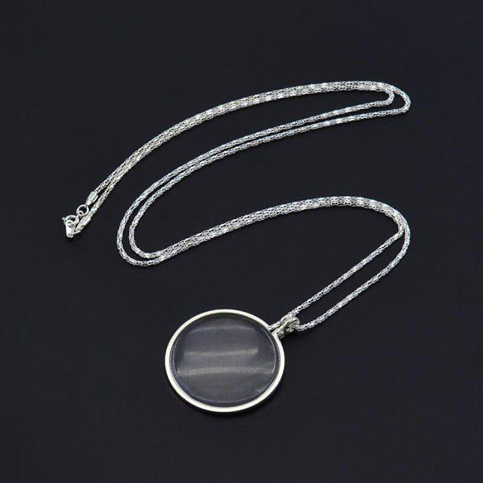 Hot Retro Round Magnifying Glass Necklace Reading Newspaper Hanging Pendant