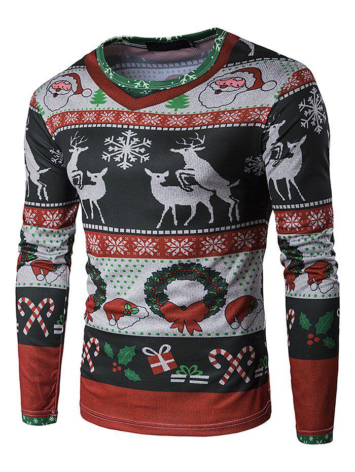 Online Men's T-shirt 3D Personalized Print Fashion Christmas Elk Pattern Long-sleeved