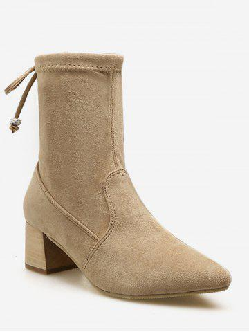 Tie Back Suede Chunky Heel Short Boots
