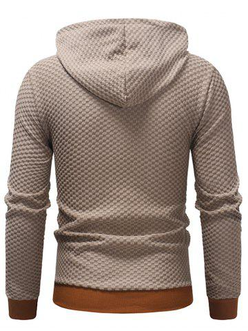 Plaid Color Matching Sweater Hoodie, Camel brown