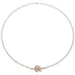 Korean Version Golden Chain Leaf Necklace -