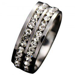 Simple Double Row Diamond Silver Ring -