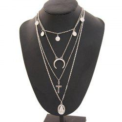 Vintage Personality Alloy Virgin Cross Multilayer Pendant Necklace -