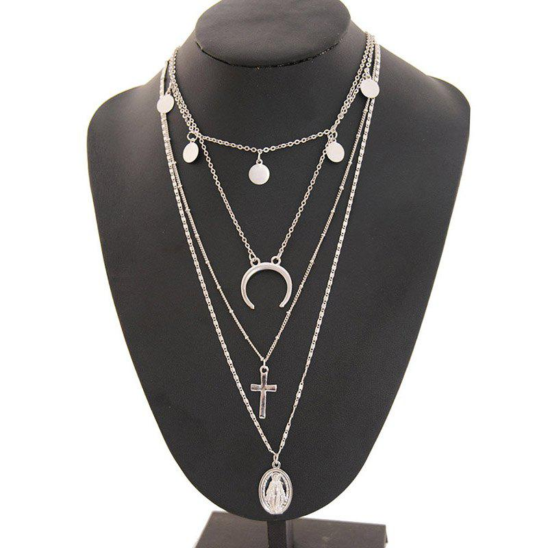 Cheap Vintage Personality Alloy Virgin Cross Multilayer Pendant Necklace