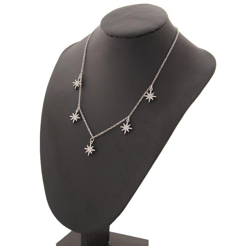 New Simple Flash Drill Eight-pointed Star Clavicle Chain