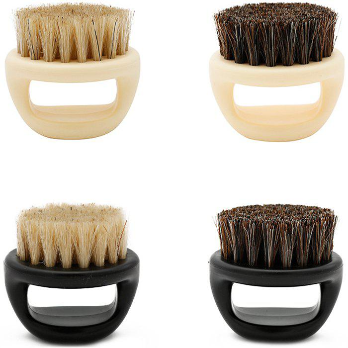 New Beard Brush Shape Comb Pig Bristle Care Cleaning Ring Brush Retro Oil Head Brush 1pc