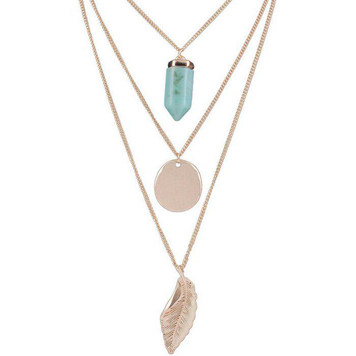 Fashion Environmentally Friendly Alloy Metal Strip Three-layer Leaf Round Necklace