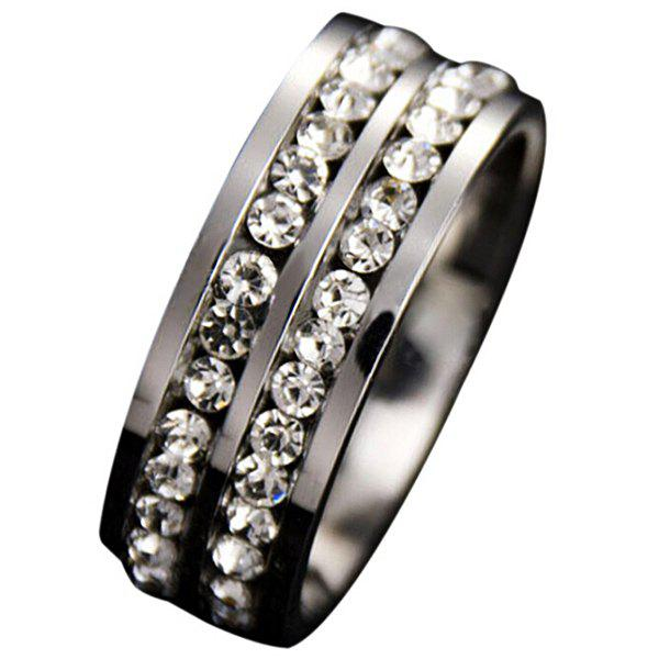 Latest Simple Double Row Diamond Silver Ring