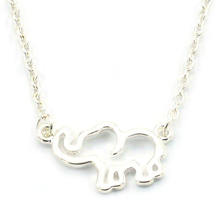Sale Fashion Simple Personality Lucky Hollow Elephant Necklace Pendant