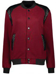Stand Collar PU-Leather Splicing Jacket -