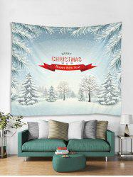 Merry Christmas Snow Printed Tapestry Art Decoration -