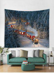 Christmas Night Train Printed Tapestry Art Decoration -