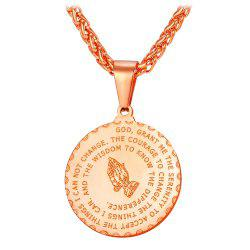 Stainless Steel Round Bible Prayer Pendant Necklace -