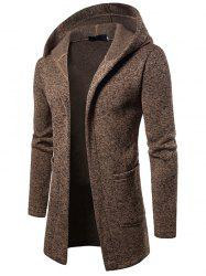 W02 Automne Hommes Long Trench À Capuche Casual Cardigan Tricot Cardigan -
