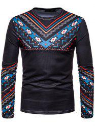 Men Personality Ethnic Style Printed Round Neck Long-sleeved T-shirt -