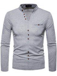 Men Plus Velvet Warm V-neck Long-sleeved Bottoming Shirt -