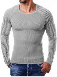 Men Pullover Ribbed Stripe Knit Sweater -