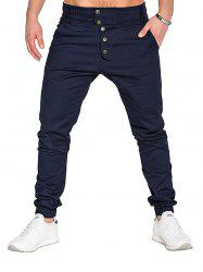 Men Fashion Button Stitching Trousers Solid Color Casual Harem Pant -