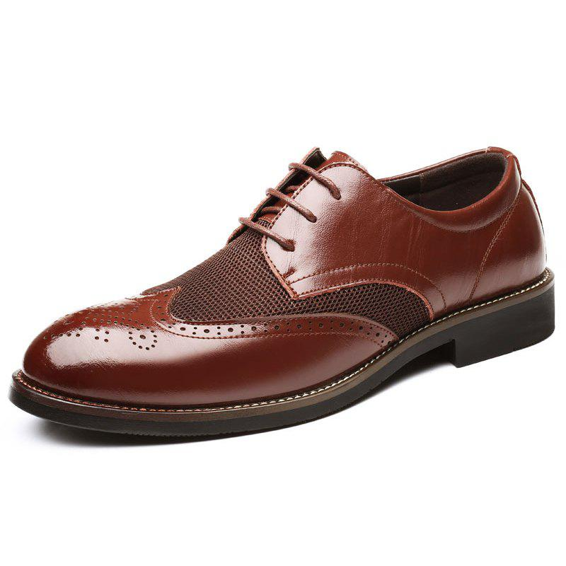 Buy 0113 - 2 Men's Shoes Leather Shoes Breathable Carved
