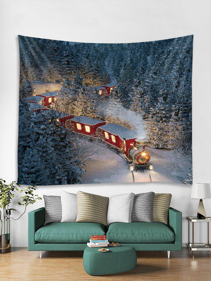 Chic Christmas Night Train Printed Tapestry Art Decoration