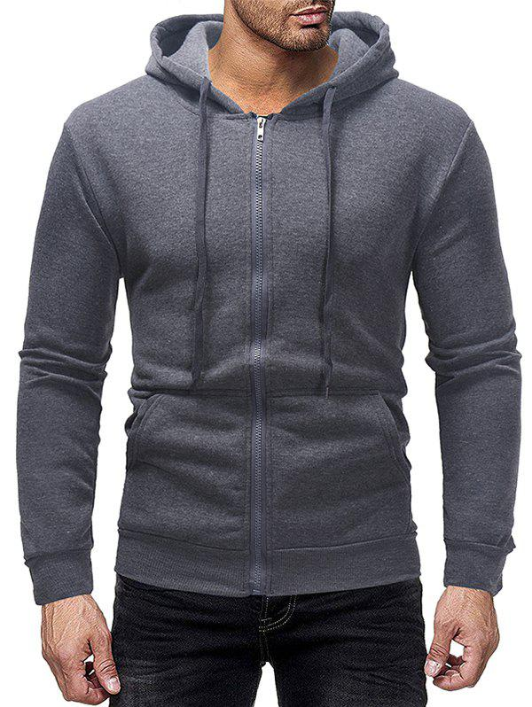 Men's Jacket Fleece Casual Solid Color Zipper Sports Hoodie