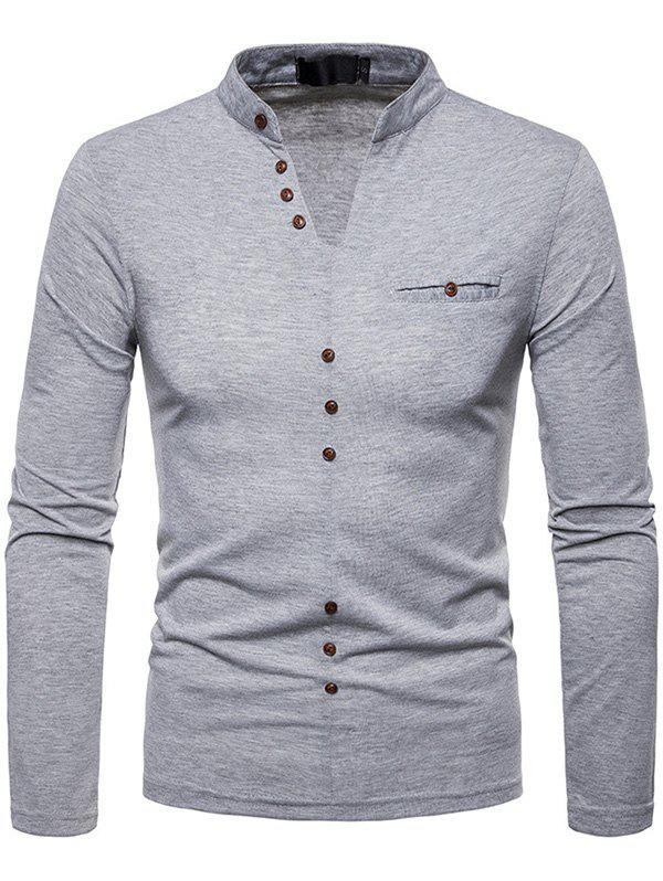 Best Men Plus Velvet Warm V-neck Long-sleeved Bottoming Shirt
