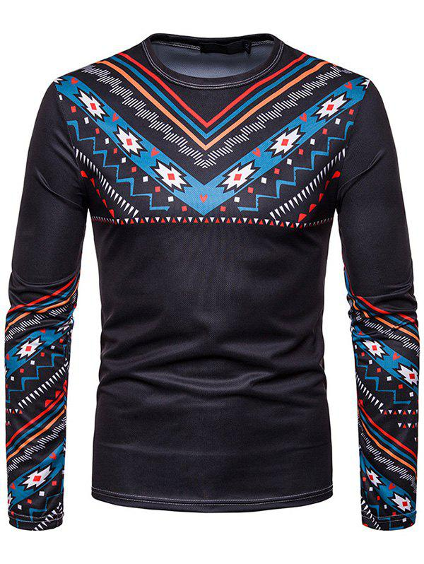Outfit Men Personality Ethnic Style Printed Round Neck Long-sleeved T-shirt