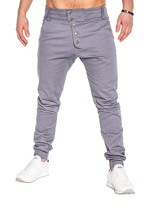 Cheap Men Fashion Button Stitching Trousers Solid Color Casual Harem Pant