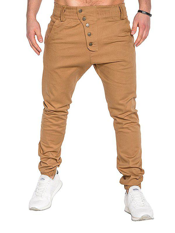 Fashion Men Fashion Button Stitching Trousers Solid Color Casual Harem Pant