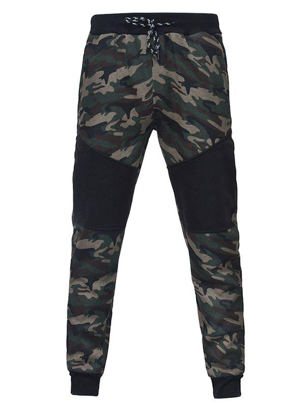 Trendy Camouflage Stitching Men Casual Slim Sports Trouser