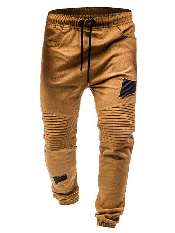 Shop Pleated Rag Stitching Tether Men Casual Trouser