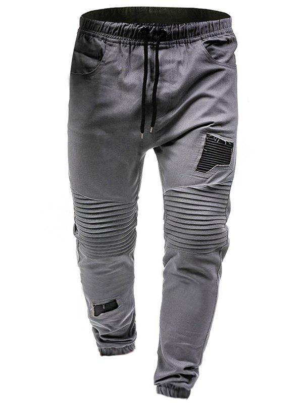 Sale Pleated Rag Stitching Tether Men Casual Trouser