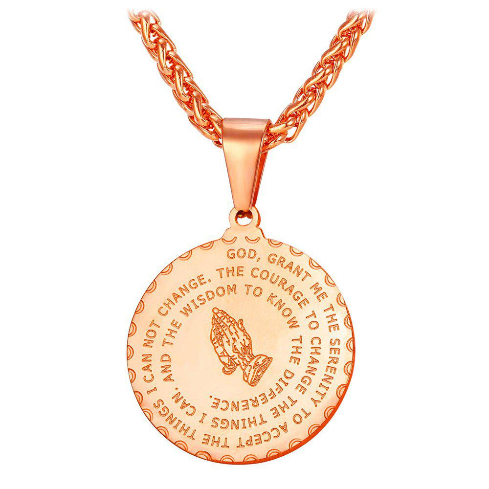 Chic Stainless Steel Round Bible Prayer Pendant Necklace