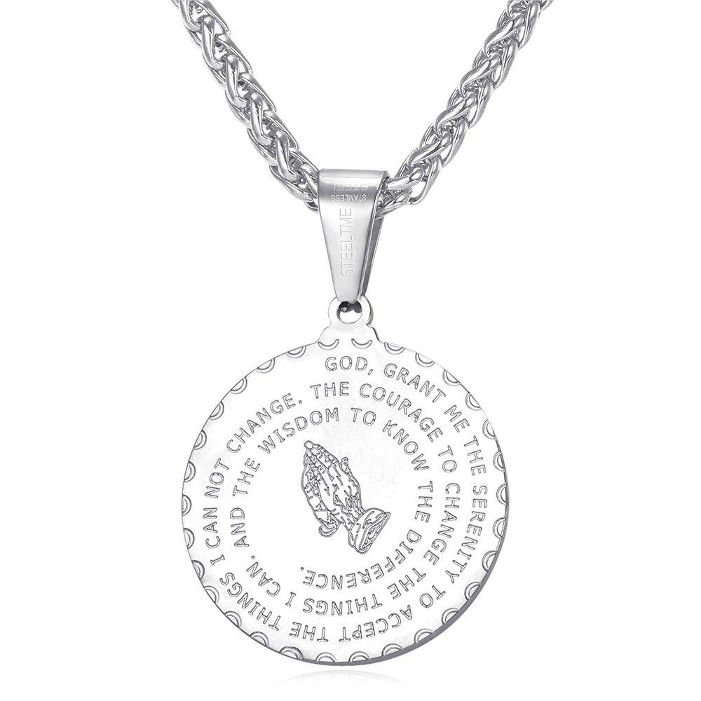 Fashion Stainless Steel Round Bible Prayer Pendant Necklace