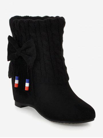 Plus Size Fold Over Bow Increased Internal Boots