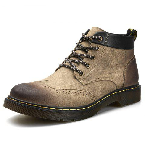 Men Comfortable High-top Boots Classic Lace-up Shoes