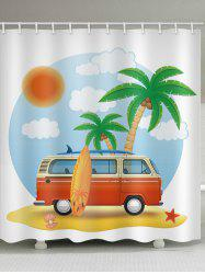 Beach Holiday Print Waterproof Bathroom Shower Curtain -