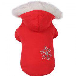 Winter Pet Dog Snowflake Brush Double-sided Wear Detachable Hat Cotton Coat -