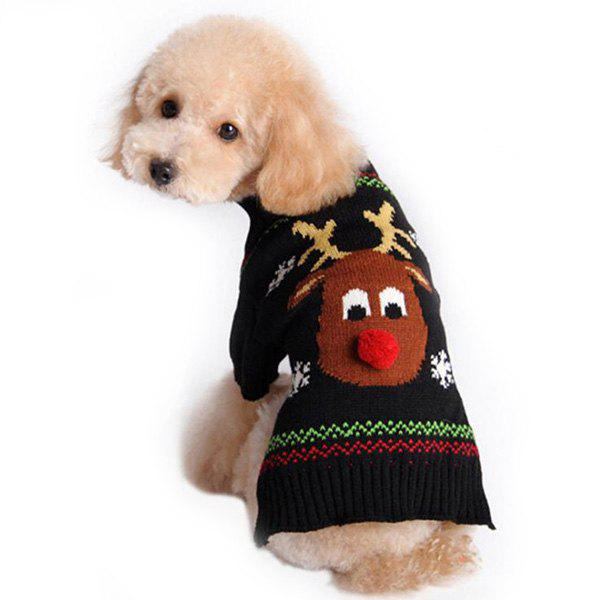Shop Christmas Red Nose Deer Pattern Pet Sweater